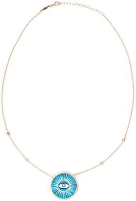 Jacquie Aiche 14kt rose gold Eye Inlay Burst pendant necklace