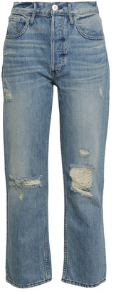 3x1 Higher Ground Cropped Distressed High-rise Straight-leg Jeans