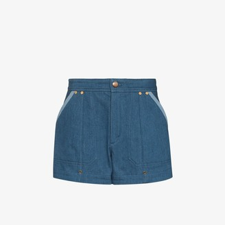 Chloé Contrast Trim Denim Shorts