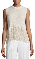 A.L.C. Dylan Sleeveless Popcorn Silk Fringe Top, Natural