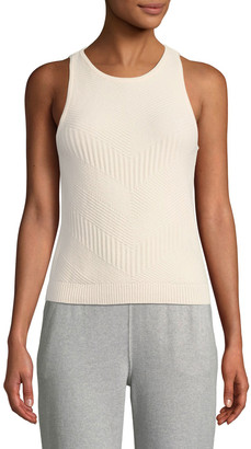 Loro Piana Sleeveless Subtle Chevron Knit Cashmere Tank
