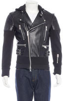 99% Is Hooded Leather Jacket