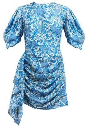 Rhode Resort Pia Floral-print Ruched Poplin Mini Dress - Womens - Blue Print