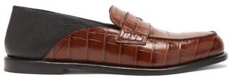 Loewe Crocodile-effect Leather Penny Loafers - Brown