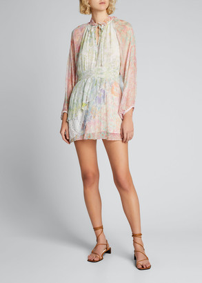 LoveShackFancy Glass Floral-Print Long-Sleeve Dress