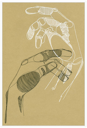 Jonathan Bass Studio Palm Reader 2, Decorative Framed Hand Embellished