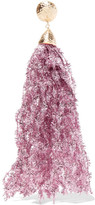Rosantica Fluffy Gold-tone Tinsel Clip Earring - Pink