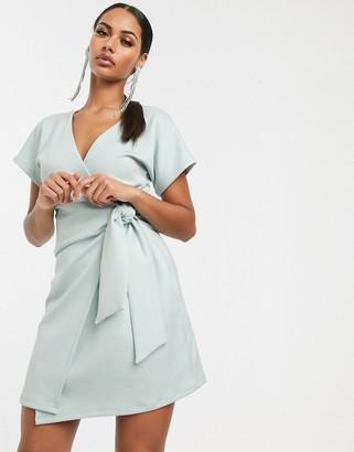 Asos Design DESIGN scuba pleated wrap front mini dress-Blue