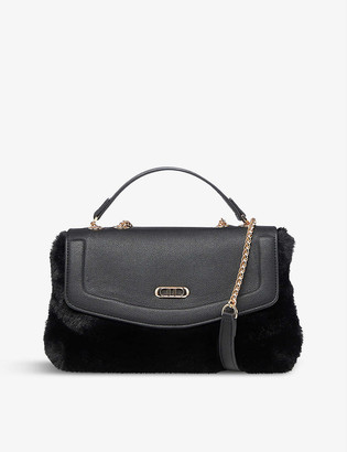 Dune Teddy faux fur and leather shoulder bag