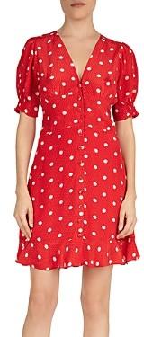 The Kooples Moonlight Dot Printed Puff-Sleeve Dress