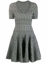 Alaia Azzedine V Neck Printed Mini Skater Dress