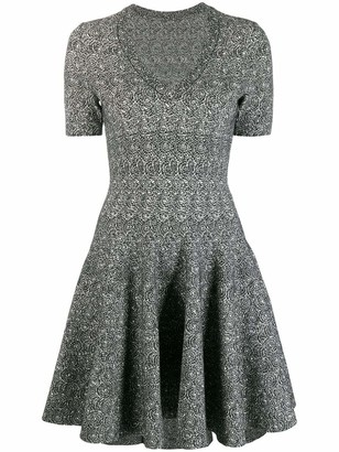 Alaia Azzedine V Neck Printed Mini Skater Dress