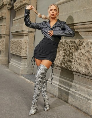 Ego x Molly-Mae Invasion over the knee boots in snake
