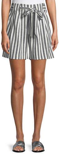 St. John Striped Linen Twill Tie-Front Shorts