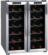 Sunpentown 24 Bottle Dual Zone Freestanding Wine Refrigerator