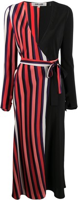 Diane von Furstenberg Striped-Panel Wrap Dress