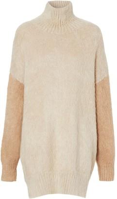 Burberry Contrast-Sleeve Mohair Jumper