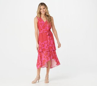 Sam Edelman Pink & Coral Ruffle Midi Dress
