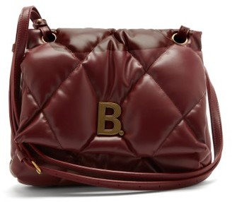 Balenciaga Touch B-plaque Medium Quilted-leather Shoulder Bag - Burgundy