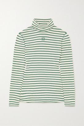 Loewe Striped Cotton-jersey Turtleneck Top - Green