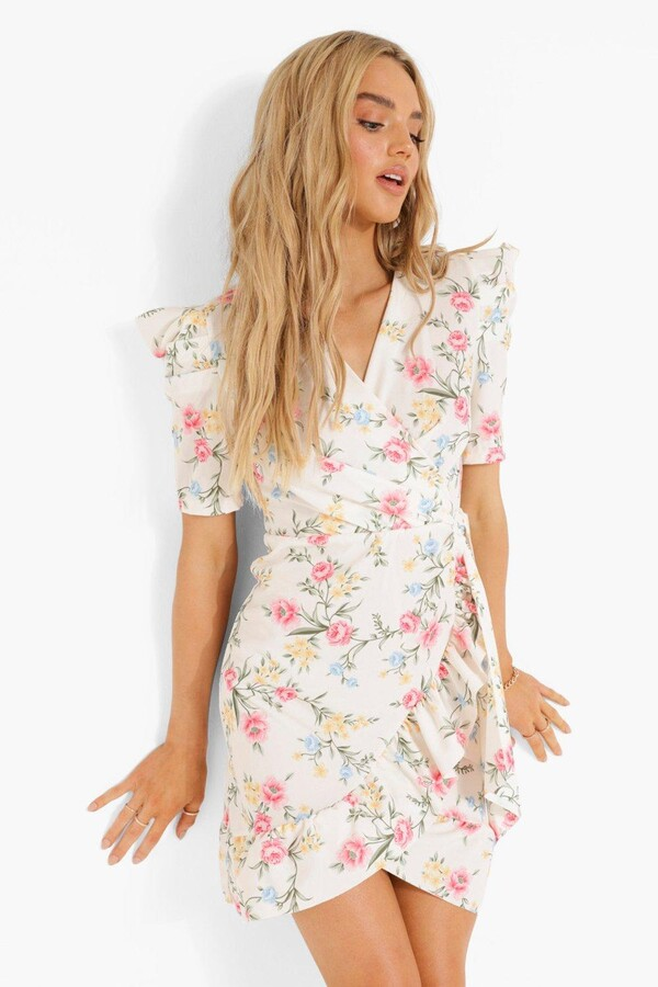 Thumbnail for your product : boohoo Floral Wrap Ruffle Tea Dress