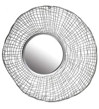 """Patton Wall Decor 27"""" Silver Wire Nest Wall Accent Mirror Silver"""
