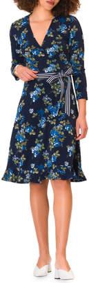 Neiman Marcus Ruffle-Hem Wrap Dress