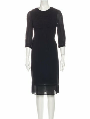 Burberry Silk Midi Length Dress Black