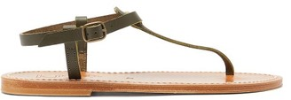 K. Jacques Picon T-bar Leather Sandals - Khaki