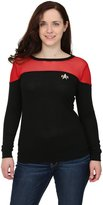 Mighty Fine Star Trek Juniors Sheer Yoke Red Sweater - S
