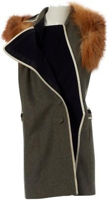 Bouchra Jarrar Khaki Wool Coat for Women