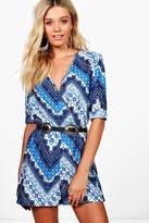 boohoo Addison Wrap Front Blue Scarf Print Playsuit