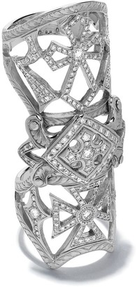 Loree Rodkin 14kt White Gold Bondage Classic Pave Diamond Cross Ring
