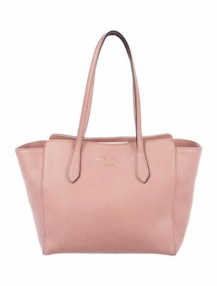 Gucci Small Leather Swing Tote Pink