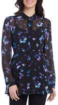 Ellen Tracy Long Sleeve Floral Tunic