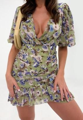 Missguided Floral Ruched Ruffle Hem Mini Dress