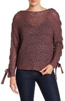 Jolt Lace-Up Dolman Sleeve Sweater
