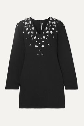 Christopher Kane Cutout Crystal-embellished Stretch Cotton-blend Jersey Mini Dress - Black