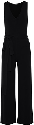 Theory Belted Stretch-knit Wide-leg Jumpsuit