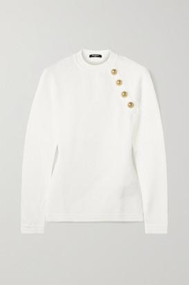 Balmain Button-embellished Jacquard-knit Sweater - White