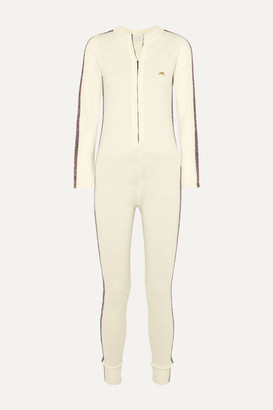 Bella Freud Futuristic Metallic Striped Merino Wool-blend Jumpsuit - White