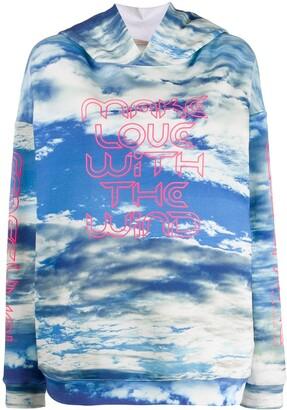 Christopher Kane sky print graphic logo hoodie