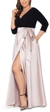 Xscape Evenings Plus Size 3/4-Sleeve Satin-Skirt Gown