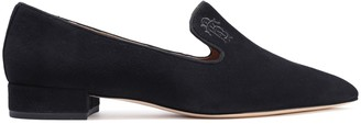 Tory Burch Embroidered Suede Loafers
