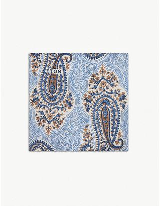 Eton Big paisley print silk pocket square