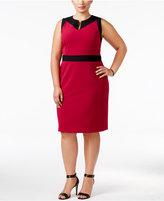Nine West Plus Size Taylor Contrast-Trim Sheath Dress