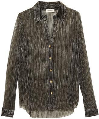 L'Agence Nina Metallic Plisse Crochet-knit Shirt