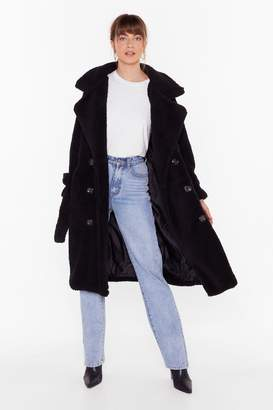 Nasty Gal Womens Are You Teddy Fur It Faux Shearling Longline Coat - black - M/L