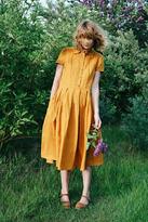 Etsy Mustard Linen Dress - Shirt Linen Dress - Short Sleeved Linen Dress - Handmade by OFFON
