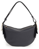 Salvatore Ferragamo 'Small Badia' Pebbled Leather Hobo Bag - Grey